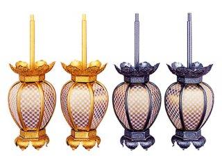 吊灯籠 院玄灯籠 七宝透灯籠(アルミ製・中)