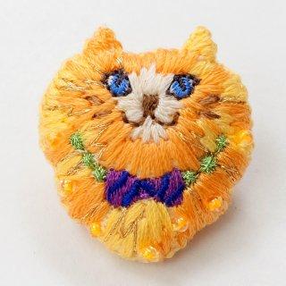 動物刺繍ブローチ ネコ