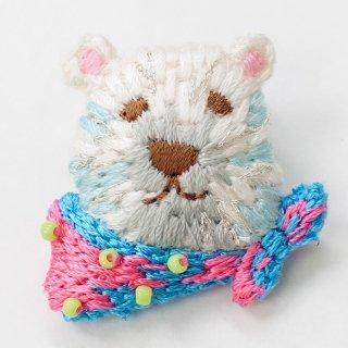 動物刺繍ブローチ クマ
