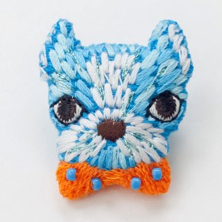 動物刺繍ブローチ イヌ