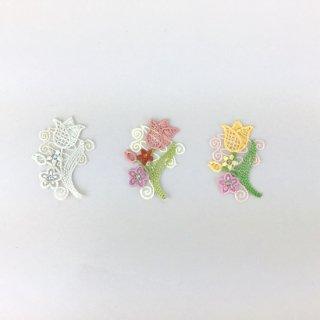 刺繍アイロン圧着ワッペン【花レース調】スワロフスキー付