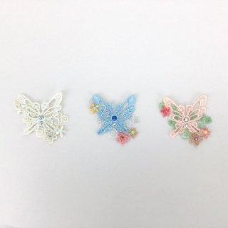 刺繍アイロン圧着ワッペン【蝶】スワロフスキー付