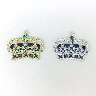 刺繍アイロン圧着ワッペン【王冠キング】スワロフスキー付