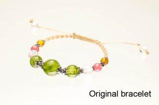【オリジナルブレス】ペリドット&インカローズ&アンバー&水晶 オリジナルブレスレット