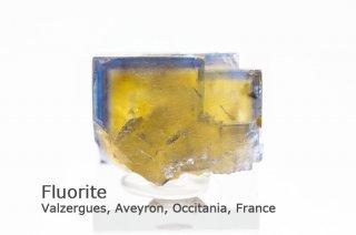 フローライト 結晶石 フランス産|ブルー&イエロー|Valzergues, Aveyron, Occitania, France|蛍石|Fluorite|
