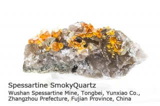 スペッサルティン 結晶 チャイナ産|Spessartine|ガーネット|スモーキークォーツ|Wushan Spessartine Mine, Fujian China|満礬柘榴石|