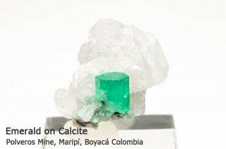 エメラルド 結晶石 コロンビア産|カルサイト|Polveros Mine, Maripi, Boyaca, Colombia|緑柱石|Emerald|1103A|