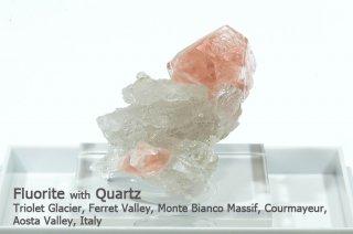 ピンクフローライト with クォーツ 結晶 イタリア産|Monte Bianco Massif, Aosta Valley, Italy|Fluorite|蛍石|