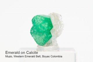 エメラルドonカルサイト 結晶石 コロンビア産|Muzo, Western Emerald Belt, Boyaca, Colombia|緑柱石|Emerald|