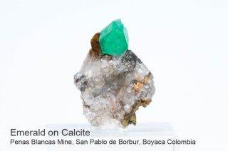 エメラルド on カルサイト 結晶石 コロンビア産|緑柱石|Penas Blancas Mine, San Pablo de Borbur, Boyaca Colombia|Emerald|