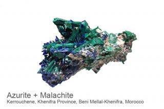 アズライト with マラカイト 結晶 モロッコ産|Azurite|Kerrouchene, Khenifra Province, Beni Mellal-Khenifra, Morocco|藍銅鉱|