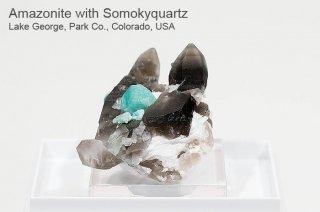 スモーキークォーツ 結晶 コロラド産|スモーキークォーツ&アマゾナイト|Lake George, Park Co., Colorado, USA|SmokyQuartz|Amazonite|天河石|