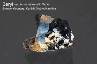 アクアマリン with ショール 結晶石 ナミビア産|Beryl|Schorl|Erongo Mountins, Namibia|Aquamarine|緑柱石|鉄電気石|