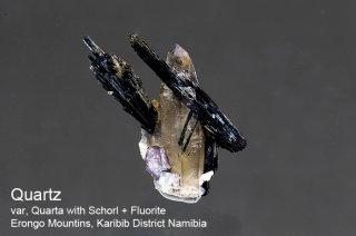 クォーツ with ショール & フローライト 結晶石 ナミビア産|Quartz with Schorl & Fluorite|Erongo Namibia|鉄電気石|蛍石|