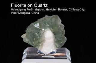 フローライト onクォーツ 結晶石 チャイナ産|Huanggang Fe-Sn deposit, Hexigten Banner, Inner Mongolia, China|蛍石|Fluorite|