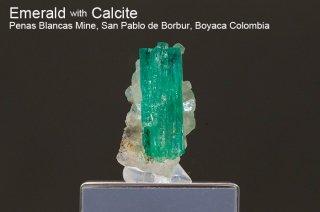 エメラルド on カルサイト 結晶 コロンビア産|緑柱石|Penas Blancas Mine, San Pablo de Borbur, Boyaca Colombia|Emerald|2023A|
