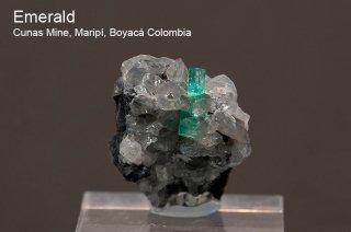 エメラルド on カルサイト 結晶石 コロンビア産 Cunas Mine, Maripi, Boyaca Colombia 緑柱石 Emerald 137D 