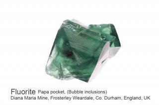 【Bubble inclusions】フローライト 結晶石 イングランド産 水入り ダイアナマリア 発光 Papa Pocket, Diana Maria Mine UK 蛍石 