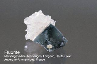フローライト with 水晶 結晶石 フランス産 蛍光 Marsanges Mine, Auvergne-Rhone-Alpes, France 蛍石 Fluorite 