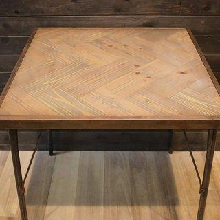 【送料無料】天然木×スチール ヘリンボーンテーブル(USED品)