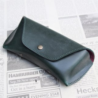 DIFFUSER  BRIDLE LEATHER EYEWEAR CASE / Green & Purple Red