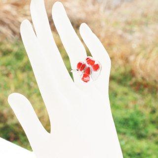 お花シリーズ・ガラスリング「RED FLOWERS」|箱付
