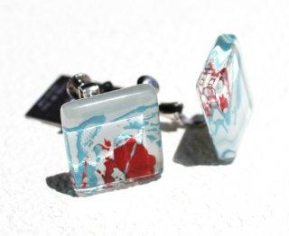 1点ものガラスイヤリング|海と薔薇|箱付