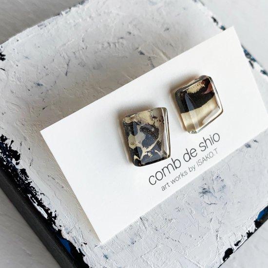 1点ものガラスのISAKOピアス|パープルメモリー|箱付