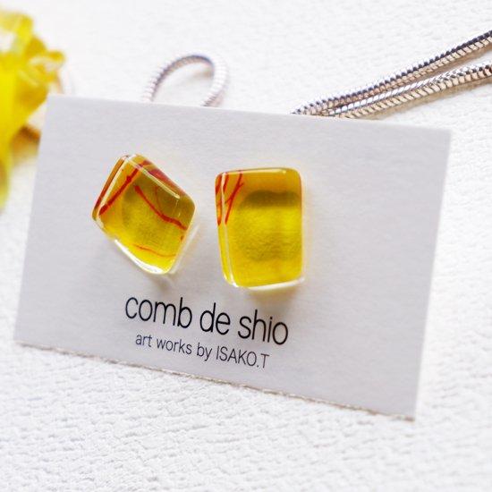 1点ものガラスのISAKOピアス|夏祭り|箱付