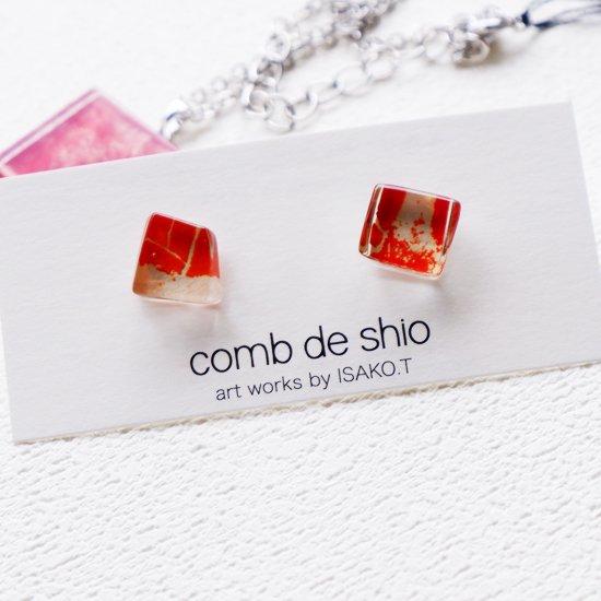1点ものガラスのISAKOピアス|オレンジメモリー|箱付