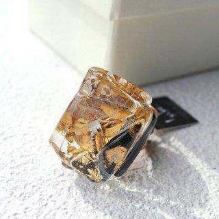 1点ものガラスのIsakoリング|Gold series|箱付