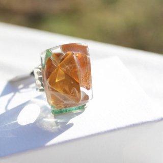 1点ものガラスのIsakoリング|ブラウン・ダイアモンド|箱付