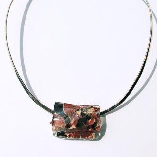 1点ものガラスのシルバーチョーカー(太Uタイプ)|パープルメモリー|箱付