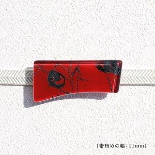 1点ものガラスの帯留め「赤の風景」|箱付