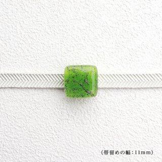 1点ものガラスの帯留め「green ice 」|箱付