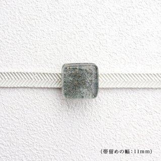 1点ものガラスの帯留め「silver cube」|箱付