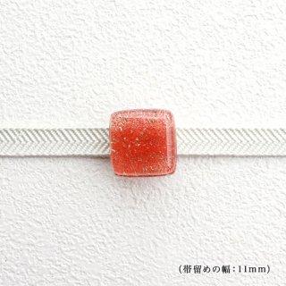 1点ものガラスの帯留め「orange cube」|箱付