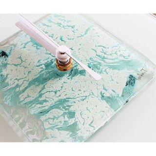 ガラスアート時計・「雪の結晶」