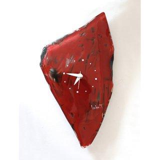 ガラスアート時計・「赤の風景」