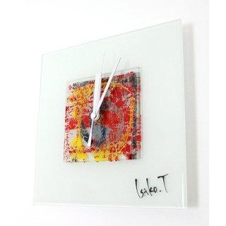 ガラスアート時計・「WHITE WINDOW」