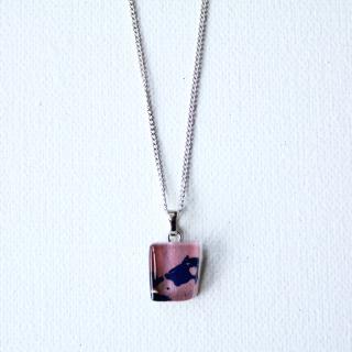 1点ものガラスのIsakoペンダント|rosepink sea|箱付