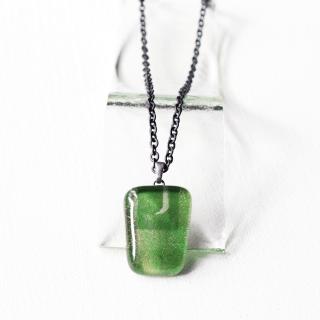 ペインティングシリーズ・1点ものガラスのメンズペンダント「green forest」|箱付