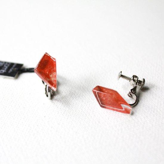 ペインティングシリーズ・1点ものガラスイヤリング・プチ「Tulip red」|箱付
