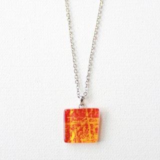 ペインティングシリーズ・1点ものガラスペンダント「sun flower orange」|箱付