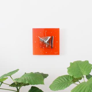 ガラスアート時計「orange forest」