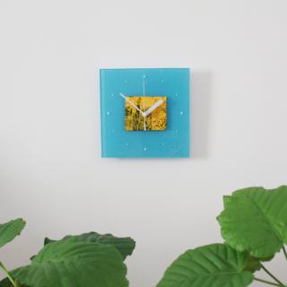 ガラスアート時計「yellow painting」