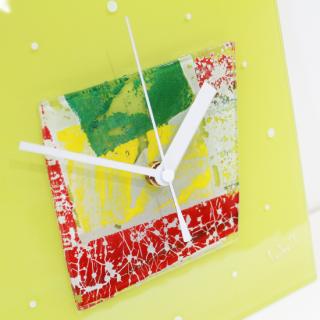 ガラスアート時計「happy picnic」