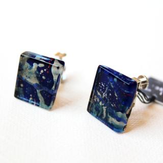 1点ものガラスイヤリング|パリの夜と青い鳥|箱付