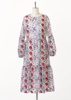 Flower multi-color embroidery tiered dress
