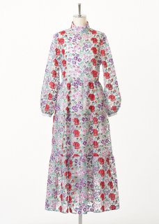 Flower multi-color embroidery stand collar dress【ビジュー付】